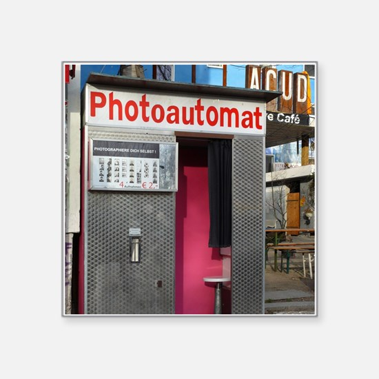 """Old photo booth in Berlin,  Square Sticker 3"""" x 3"""""""