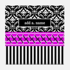 Black Fuchsia Damask Stripes Personal Tile Coaster