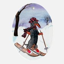 Skiing Dachshund Oval Ornament