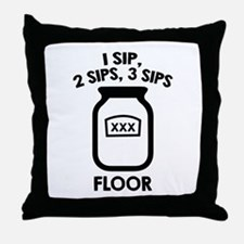 1 Sip, 2 Sips, 3 Sips Floor Throw Pillow