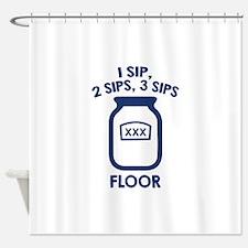 1 Sip, 2 Sips, 3 Sips Floor Shower Curtain