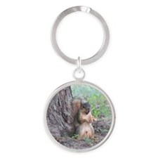 Boy Squirrel By Tree Round Keychain