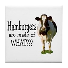 Hamburgers are made of what? Tile Coaster