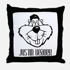 Justin Beaver Throw Pillow