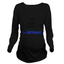Cute Handyman Long Sleeve Maternity T-Shirt