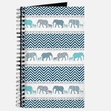 Mom n Baby Elephant Chevron Striped Navy B Journal