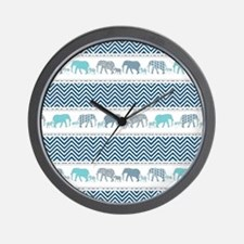 Mom n Baby Elephant Chevron Striped Nav Wall Clock