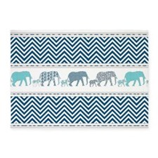 Mom n Baby Elephant Chevron Striped 5'x7'Area Rug