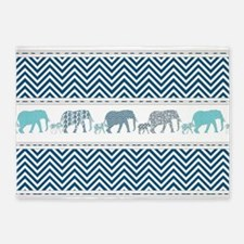 Mom n Baby Elephant Chevron Striped 5'x7'Area Rug