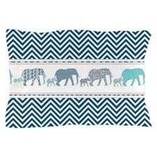 Mom n Baby Elephant Chevron Striped Na Pillow Case