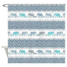 Mom n Baby Elephant Chevron Striped Shower Curtain