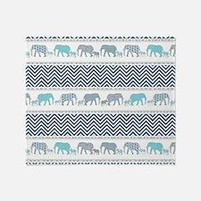 Mom n Baby Elephant Chevron Striped Throw Blanket