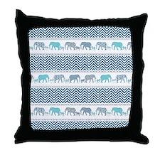 Mom n Baby Elephant Chevron Striped N Throw Pillow