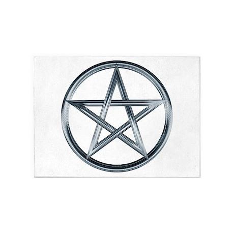 Silver Pentagram 5 X7 Area Rug By Merrychristmas7