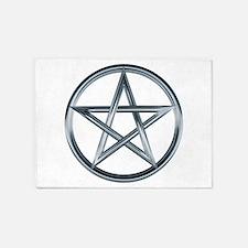 Silver Pentagram 5'x7'Area Rug