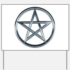 Silver Pentagram Yard Sign