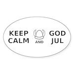 Keep Calm God Jul Sticker (Oval 10 pk)