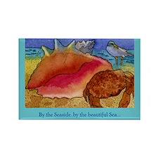 At the Beach-Gulls, Shells, C Rectangle Magnet