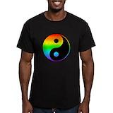 Rainbow yin yang Fitted T-shirts (Dark)