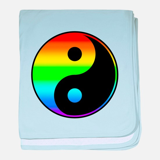 Rainbow Yin Yang Symbol baby blanket