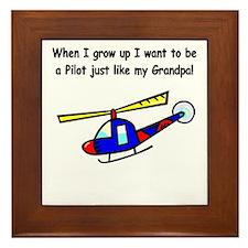 Helicopter Pilot Grandpa Framed Tile