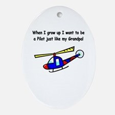 Helicopter Pilot Grandpa Oval Ornament