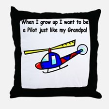 Helicopter Pilot Grandpa Throw Pillow