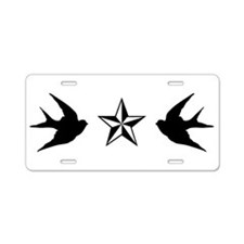 Swallows and Stars Aluminum License Plate