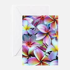 Rainbow Plumeria Greeting Cards