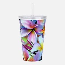 Rainbow Plumeria Acrylic Double-wall Tumbler