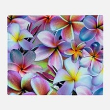 Rainbow Plumeria Throw Blanket