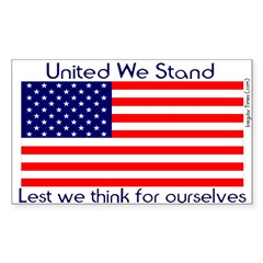 United Lest We Think Flag Decal