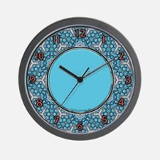 Turquoise & Silver Pattern Wall Clock