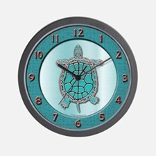 Turtle in Turquoise Wall Clock