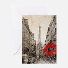 vintage eiffel tower paris I love p Greeting Cards