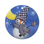 Happy Holiday Snowman Ornament (Round)