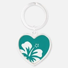 Tropical Teal Blue Green and White Hibiscus Keycha