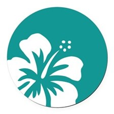 Tropical Teal Blue Green and White Hibiscus Round