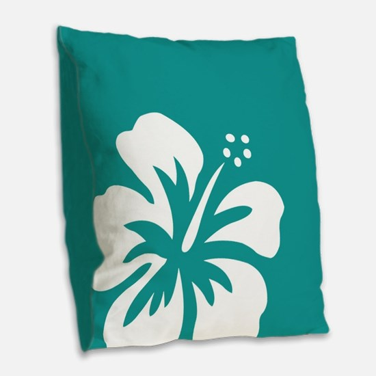 Tropical Teal Blue Green and White Hibiscus Burlap