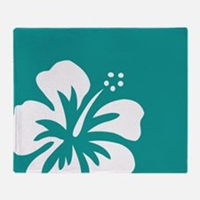 Tropical Teal Blue Green and White Hibiscus Throw