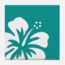 Tropical Teal Blue Green and White Hibiscus Tile C