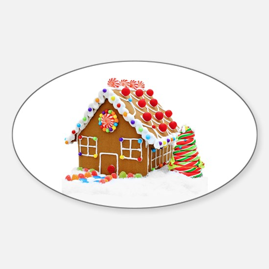 Gingerbread House Sticker (Oval)