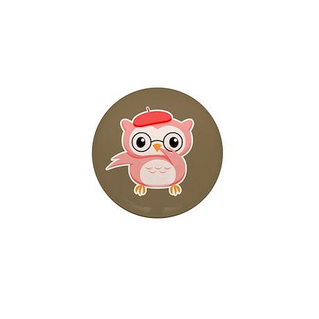 Le Pink Owl Mini Button