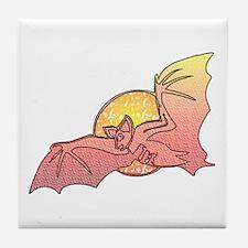 Halloween Moon Bat Tile Coaster