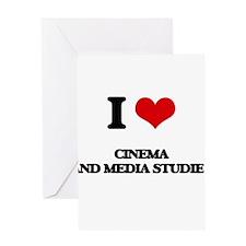 I Love Cinema And Media Studies Greeting Cards
