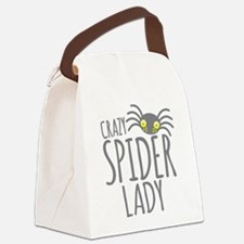 Crazy Spider lady Canvas Lunch Bag