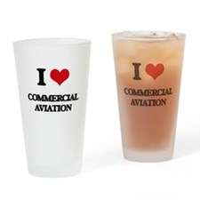 I Love Commercial Aviation Drinking Glass