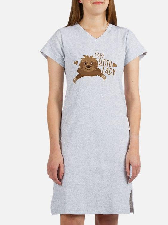 Crazy Sloth lady Women's Nightshirt
