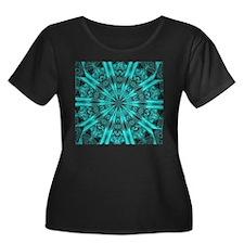 Torquise Crystal Wheel Plus Size T-Shirt