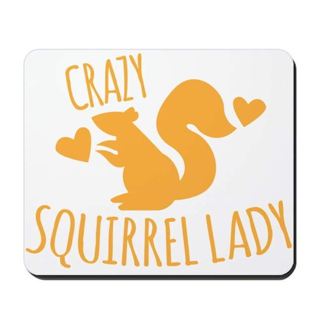 Crazy Squirrel lady Mousepad by Jazzyhumor